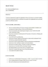 Collection of Solutions Sample Resume For Network Engineer Fresher In Free  Download