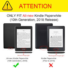 Kindle Paperwhite Charging Light Fintie Flip Case For All New Kindle Paperwhite 10th Gen 2018 Release Multiple Angle Ultra Slim Lightweight Stand Cover With Auto Sleep Wake For