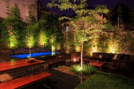 modern garden lighting. modern garden lighting ideas for japanese theme with small rectangular swimming pool and good quality furniture a