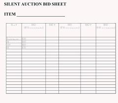 Silent Bid Sheet Sample Auction List Template Templates