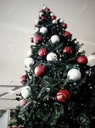 Decorating Christmas Tree With Balls Huge Christmas Tree With Red And Silver Balls Decorations Stock 13
