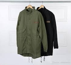 military style kanye west army green trench coat mens 2016 kpop clothing applique design cargo jackets yee3321 winter jackets mens leather jackets from