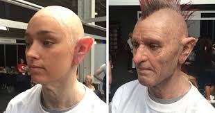 makeup artist transforms young into an old punk