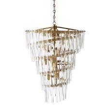 ellis crystal spiral chandelier antique brass