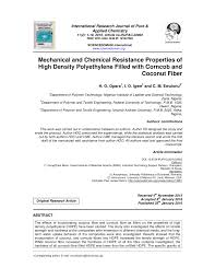 Pdf Mechanical And Chemical Resistance Properties Of High