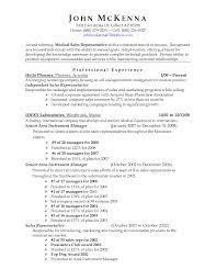 Medical Representative Resume For Freshers Sales Representative