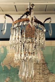 vintage cut glass tiered chandelier