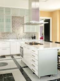 Kitchen Minimalist White Varnished Island Kitchen Cabinets