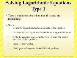 solving logarithmic equations type 1
