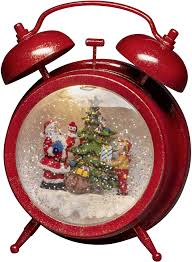 Konstsmide 4375 550 Led Szenerie Wecker Mit Weihnachtsmann Und Kind Mit Timer Warm Weiß Led Rot