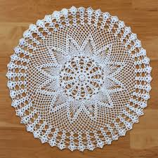 crocheted hollow tablecloth handmade cotton doily table mat cover round 60cm white