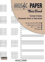 Music Paper Notebook Guitar Chord Standard Staff