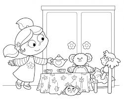 Printable Tea Party Coloring Pages Colouring