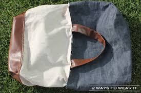 reversible denim and faux leather tote made with mood fabrics materials and supplies