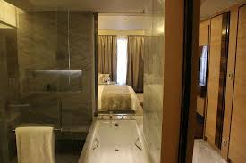 jw marriott hotel new delhi aerocity looking through the bathroom at the bedroom