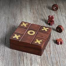 Wooden Naughts And Crosses Game Store Indya Diwali Gifts Brown Wooden Tic Tac Toe Game Box with 31