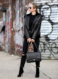 go for a rock star vibe by layering a leather jacket over black jeans like brooklyn blonde