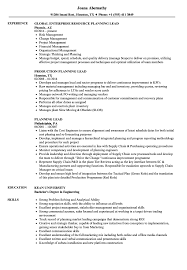 Planning Lead Resume Samples Velvet Jobs