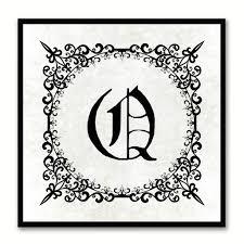 Alphabet Q White Canvas Print Black Frame Kids Bedroom Wall Dcor Home Art