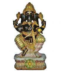 large wooden ganesha statue colorful handcrafted 3 ft