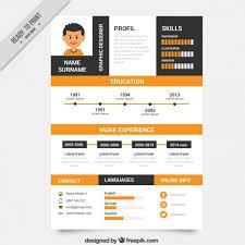 Orange and black resume template Free Vector