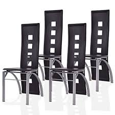 giantex 4 pcs dining chairs pu leather steel frame high back contemporary home furniture black