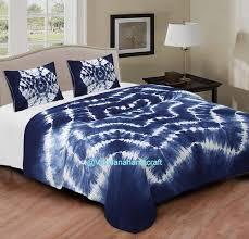 blue shibori tie dye print bed sheet
