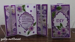 Folded Birthday Card Diy Fan Folding 3d Greeting Card