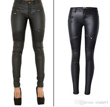 2019 faux leather pants women elastic zipper leather pants trousers plus size 2017 leren broeken clothing slim fit pencil pants from cinda01