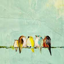 birds on a wire painting we are the world five colorful birds on a wire