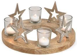 Adventskranz Holz Sterne Metall 4x Glas Kerzenhalter Weihnachten ø 30 Cm Matches21