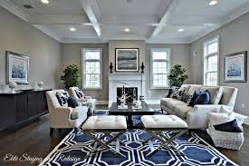 decorating a living room with dark hardwoods and gray paint navy area rug
