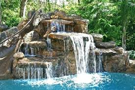 Image Rock Waterfall Pool Rock Slides Designs With Swimming Waterfall Slide Artificial Inground Crowdmedia Pool Waterfall Slide Crowdmedia