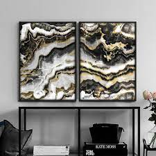 black and gold marble gold wall art