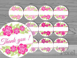 Printable Pink Flowers Labels Template Thank You And Blank 2 5 In Labels Homemade Gifts Jar Decorative Labels Download