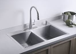 kohler k 3820 4 na double basin kitchen sink with four hole faucet drilling from the vault collection stainless steel