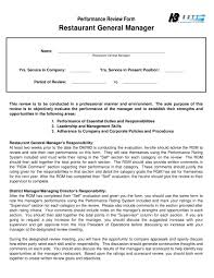Restaurant Manager Review Forms 7 Restaurant Employee Evaluation Forms Pdf Doc