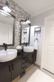 Bathroom With Tiles Bathroom With Vessel Sinks And Mosaic Backsplash Tiles Stunning