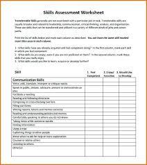 Transferable Skills Worksheet Defining Skill Lists Technical Skills Assessment Template It