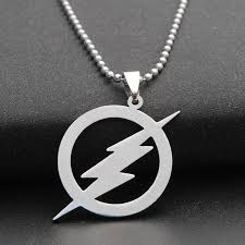 whole stainless steel zeus lightning bolt necklace the flash logo neckalce barry allen inspired necklace the fastest man alive choker necklace gold