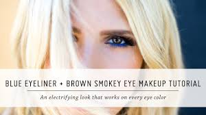 blue eyeliner and brown smokey eye makeup tutorial knock out beauty first impressions mr kate you