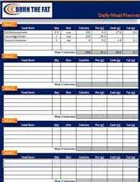 diet excel sheet burn the fat daily meal planner spreadsheet downloads