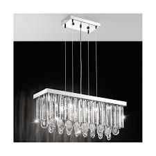 calaonda rectangular crystal ceiling pendant light in chrome finish 93422