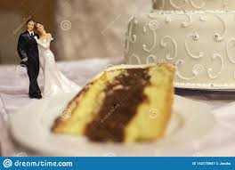 Wedding Cake With Miniature Couple Figurine Stock Image Image Of
