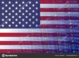 United States Flag With Indicators And Chart Stock Photo