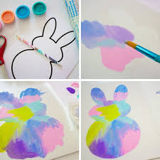 easy easter bunny painting for toddlers in process pics 3