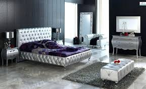 Modern White Bedroom Set Vanity Table With Mirror And Bench Cream ...