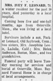 Ivy Leonard Obituary - Newspapers.com