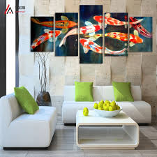 5 panel canvas prints koi fish art chinese painting printed home decoration  modern large picture on the walls of the living room-in Painting &  Calligraphy ...