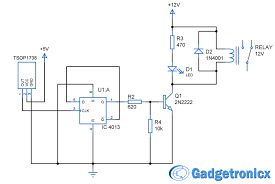 wireless remote operated device activator circuit using rs flip wireless remote operated device activator circuit using rs flip flop npn transistor and relay ac